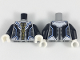 Part No: 973pb3043c01  Name: Torso Armor with Gold and Bright Light Blue Trim, Black and Dark Bluish Gray Panels Pattern / Black Arms / White Hands