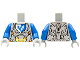 Part No: 973pb3174c01  Name: Torso Nexo Knights Armor with Orange and Gold Circuitry and Emblem with Blue Falcon Pattern / Blue Arms / Light Bluish Gray Hands