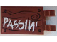 Part No: 30350bpb059  Name: Tile, Modified 2 x 3 with 2 Clips with White 'PASSIN'' on Wood Grain Background with 4 Screws Pattern (Sticker) - Set 70813