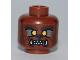 Part No: 3626bpb0543  Name: Minifig, Head with Werewolf, Orange Eyes and Sharp Teeth Pattern - Blocked Open Stud