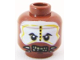 Part No: 3626bpb0571  Name: Minifig, Head PotC Cannibal White and Yellow Face Paint Pattern - Blocked Open Stud