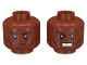 Part No: 3626cpb0906  Name: Minifigure, Head Dual Sided Black Eyebrows, Cheek Lines, Determined / Angry Pattern - Hollow Stud
