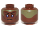Part No: 3626cpb0980  Name: Minifig, Head Female with Violet Eyes, Brown Lips and Pale Green Head Paint Pattern (SW Stass Allie) - Stud Recessed