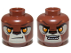 Part No: 3626cpb1080  Name: Minifig, Head Dual Sided Alien Chima Lion with Orange Eyes, Tan Face and Brown Nose, Closed Mouth / Open Mouth Pattern (Lavertus) - Stud Recessed