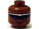 Part No: 3626cpb1108  Name: Minifig, Head Glasses with Black and Silver Sunglasses, Crooked Smile, Cheek Lines Pattern (Power Man) - Stud Recessed