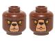 Part No: 3626cpb1252  Name: Minifig, Head Dual Sided Alien Chima Bear with Black Nose, Yellow Eyes, Dark Brown Fur, Stern / Raised Eyebrow Pattern (Bulkar) - Stud Recessed