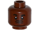 Part No: 3626cpb1393  Name: Minifigure, Head Black Beard and Eyebrows, Goatee, Pupils, Dark Bluish Gray Lines under Eyes Pattern (Barry) - Hollow Stud