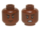 Part No: 3626cpb1420  Name: Minifig, Head Dual Sided Black Eyebrows, White Pupils, Raised Eyebrow / Open Mouth Scowling Teeth Pattern (Finn) - Stud Recessed