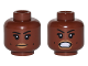 Part No: 3626cpb1629  Name: Minifig, Head Dual Sided Female, Black Eyebrows, Dark Tan Lips, Dimples, Neutral / Bared Teeth Pattern (Patty Tolan) - Stud Recessed