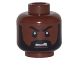 Part No: 3626cpb1680  Name: Minifig, Head Beard Black Full with Side Burns, White Pupils, Open Mouth Grimace Pattern - Stud Recessed