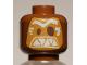 Part No: 3626cpb1704  Name: Minifig, Head Alien Mask Medium Dark Flesh with White Eyebrows and Triangular Teeth Pattern (Kakamora) - Stud Recessed (41150)