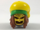 Part No: 36853pb01  Name: Minifig, Hair Combo, Long Dreadlocks, Gold Batman Cowl, Large Floppy Hat with Bright Green Rim and Red Splotch Pattern