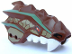 Part No: 93071pb01  Name: Dragon Head (Ninjago) Upper Jaw Spiny with Dark Tan Scales, Sand Green Stripes, and White Teeth Pattern