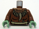 Part No: 973pb0572c01  Name: Torso Castle Fantasy Era with Tooth Necklace and Rope Belt Pattern / Reddish Brown Arms / Sand Green Hands