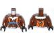 Part No: 973pb1704c01  Name: Torso Aviator Jacket with Orange Parachute and Straps, Arctic Explorer Logo on Reverse Pattern / Reddish Brown Arms / Black Hands
