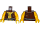 Part No: 973pb1927c01  Name: Torso Pirate Vest Tattered and Anchor Tattoo, Muscles Pattern / Yellow Arms / Yellow Hands