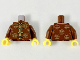 Part No: 973pb3459c01  Name: Torso Tang Jacket with Gold Trim, Ties, and Sunshine Designs Pattern / Reddish Brown Arms / Yellow Hands
