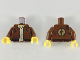 Part No: 973pb3575c01  Name: Torso Jacket with Gold 'CP', Dark Brown Patch and Trim, Yellow Neck and Tan Button Up Shirt Pattern / Reddish Brown Arms / Yellow Hands