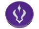 Part No: 14769pb130  Name: Tile, Round 2 x 2 with Bottom Stud Holder with Silver Curved Shadow Symbol on Dark Purple Background Pattern (Sticker) - Set 41180