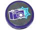 Part No: 14769pb164  Name: Tile, Round 2 x 2 with Bottom Stud Holder with Dark Purple Camera and Medium Azure Star Pattern (Sticker) - Set 41129