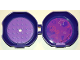 Part No: 29632c06pb01  Name: Container, Pod with Medium Lavender 6 x 6 Round Plate and Medium Lavender 1 x 2 Plate, Complete Assembly with Friends Pattern (Stickers) - Set 5005236