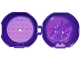 Part No: 29632c11pb01  Name: Container, Pod with Medium Lavender 6 x 6 Round Plate and Medium Lavender 1 x 2 Plate, Complete Assembly with Friends Pattern (Stickers) - Set 853776