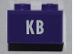 Part No: 3004pb110  Name: Brick 1 x 2 with White 'KB' Pattern (Sticker) - Set 4866