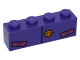 Part No: 3010pb202  Name: Brick 1 x 4 with Black Line, Bright Light Orange Skull and Magenta Rectangles Pattern