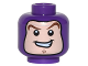 Part No: 3626cpb1552  Name: Minifigure, Head Balaclava with Face Hole, Dark Brown Curved Eyebrows, Chin Dimple, Open Mouth Smile Pattern (Buzz Lightyear) - Hollow Stud