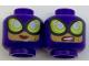 Part No: 3626cpb1763  Name: Minifigure, Head Dual Sided Female Balaclava, Large Lime Goggles, Medium Dark Flesh Face, Smile / Sneer Pattern - Hollow Stud