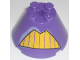 Part No: 3943bpb03  Name: Cone 4 x 4 x 2 with Axle Hole and Yellow Teeth Pattern (Zurg)
