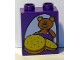 Part No: 4066pb321  Name: Duplo, Brick 1 x 2 x 2 with Teddy Bear and Cookies / Biscuits Pattern