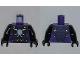 Part No: 973pb1248c01  Name: Torso Ninjago Snake with Light Blue Gem and Black and Gold Scales Pattern (Pythor) / Black Arms / Black Hands