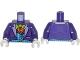 Part No: 973pb1648c01  Name: Torso Batman Suit with Blue Vest, Orange Shirt and Green Bow Tie Pattern / Dark Purple Arms / White Hands