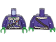 Part No: 973pb1663c01  Name: Torso Aviator Jacket with Silver Badge, Radio and Brown Belts Pattern / Dark Purple Arms / Bright Green Hands