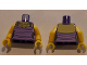 Part No: 973pb2024c01  Name: Torso Female Top with Dark Purple Stripes and Gold Necklace Pattern / Yellow Arms / Yellow Hands