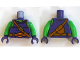 Part No: 973pb2051c01  Name: Torso Bright Green Chest, Shoulder Strap, Belt with Pumpkin Buckle, Pouch on Back Pattern (Green Goblin) / Bright Green Arms / Dark Purple Hands
