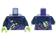 Part No: 973pb2083c01  Name: Torso Ninjago Tattered Dark Blue and Yellowish Green Robe Pattern / Dark Blue Arms / Yellowish Green Hands