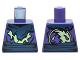 Part No: 973pb2084  Name: Torso Ninjago Tattered Dark Blue and Yellowish Green Robe and Dark Blue Belt Pattern