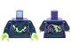 Part No: 973pb2084c01  Name: Torso Ninjago Tattered Dark Blue and Yellowish Green Robe and Dark Blue Belt Pattern / Dark Blue Arms / Yellowish Green Hands