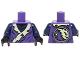 Part No: 973pb2126c01  Name: Torso Ninjago Tattered Robe with Yellowish Green Collar and Dark Blue Undershirt Pattern / Dark Blue Arms / Black Hands