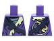 Part No: 973pb2127  Name: Torso Ninjago Tattered Robe with Yellowish Green Collar, Dark Blue Strap and Gray Undershirt Pattern