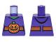 Part No: 973pb2281  Name: Torso Vest with Dark Orange Belt and Orange Pumpkin Jack-o-Lantern Buckle Pattern