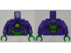 Part No: 973pb2365c01  Name: Torso Armor with Lex Luthor Warsuit with Yellow and Green Hexagon Logo and Green Armor Plates Pattern / Dark Purple Arms / Green Hands