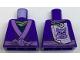 Part No: 973pb2491  Name: Torso Ninjago Robe with Medium Lavender Trim and Animal Drawing Pinned to Back Pattern