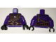 Part No: 973pb2519c01  Name: Torso Ninjago Snake Scales, with Tooth Pendant, Copper Chains and Snake Head Belt Pattern / Dark Purple Arms / Black Hands