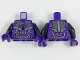 Part No: 973pb2967c01  Name: Torso Armor with Black, Silver, and Lavender Details Pattern / Black Arms / Dark Purple Hands