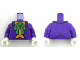 Part No: 973pb3006c01  Name: Torso Batman Suit with Orange Vest and Green Bow Tie Pattern (The Joker) / Dark Purple Arms / White Hands