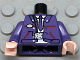 Part No: 973px397c01  Name: Torso Harry Potter Bus Driver Jacket and Dark Purple Tie Pattern / Dark Purple Arms / Light Flesh Hands