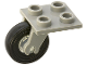 Part No: 2415c01  Name: Plate, Modified 2 x 2 Thin with Plane Single Wheel Holder and Trans-Clear Wheel with Black Tire (2415 / 3464 / 3139)